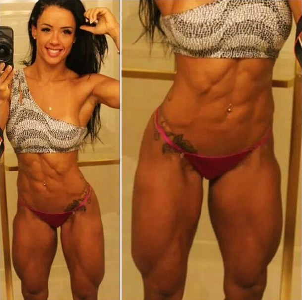 WBFF Pro Diva Fitness ... Deadlifts With Dumbbells